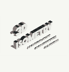 isometry font 3d bold style vector image