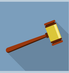 justice wood gavel icon flat style vector image