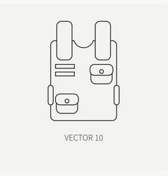 Line flat military icon bulletproof vest vector