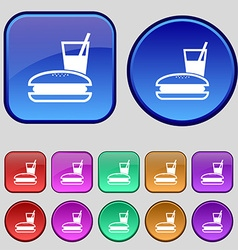 Lunch box icon sign A set of twelve vintage vector