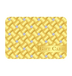 Luxury golden gift card with small diamonds vector