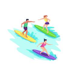 men and women surfing vector image