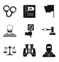 Molestation icons set simple style vector