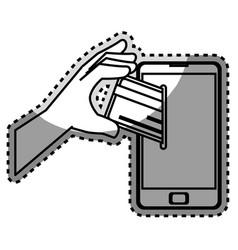 Monochrome contour sticker with cell phone and vector