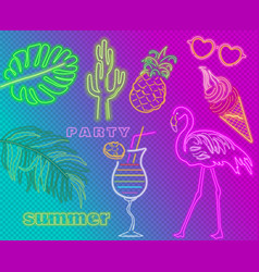 Neon flamingo cocktails and palm leaves summer vector