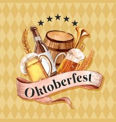 Oktoberfest frame with beer beverage brewery vector
