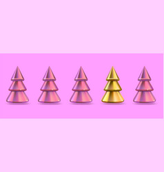 one golden christmas tree standing out from line vector image