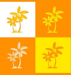 orange palm trees and leaves line silhouette vector image