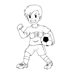 Outline Kid Soccer vector image