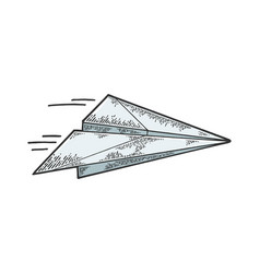 paper airplane fly sketch engraving vector image