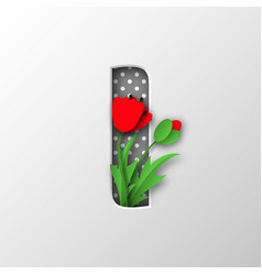 paper cut letter i with poppy flowers vector image