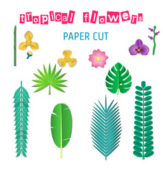 Papercut tropical 02 vector