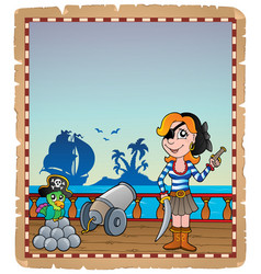 parchment with pirate ship deck 5 vector image