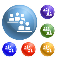people conference icons set vector image