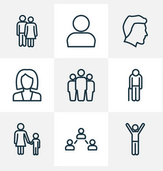 people outline icons set collection of business vector image