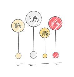 percentage visualization icon vector image