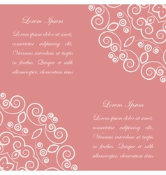 Pink background with white ornate pattern vector