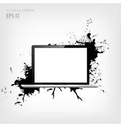 Realistic detalized flat laptop with abstract vector