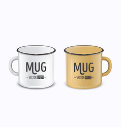Realistic enamel metal white and brown mugs vector