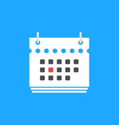 Red calendar date flat icon vector