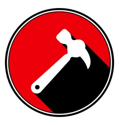 Red information icon - white claw hammer vector