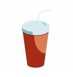 Red paper cup with straw icon cartoon style vector image