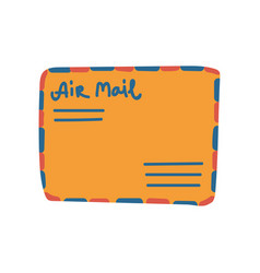Retro orange mail envelope with address vector