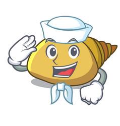 Sailor mollusk shell character cartoon vector