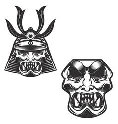 Samurai warrior helmet isolated on white vector