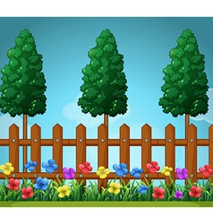 Scene with trees and wooden fence vector image