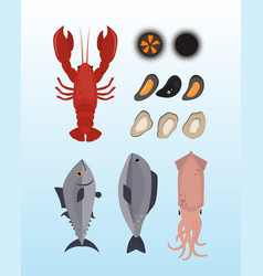 Seafood flat tasty cooking delicious can be used vector