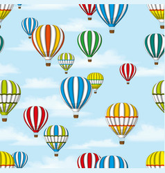 Seamless background of some hot air balloons vector