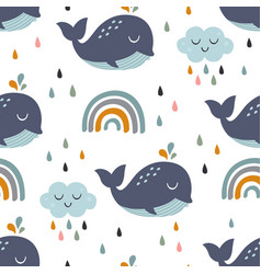 seamless pattern with bawhale rainbow vector image