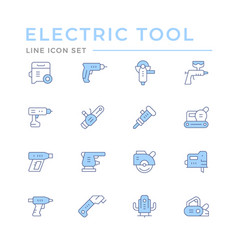 Set color line icons electric tools vector