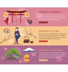 set japan travel horizontal banners with place vector image