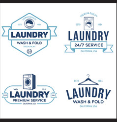 set labels or logos for laundry service vector image