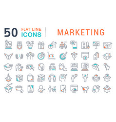 Set line icons marketing vector