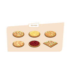 Set of different kinds of pizza with different vector
