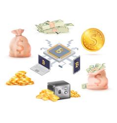 set of green money golden online cash bank cell vector image