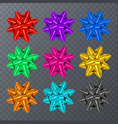 set of realistic bows isolated on transparent vector image