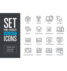 set pixel perfect high quality lines icons vector image