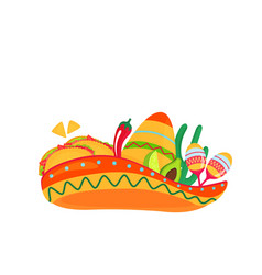 sombrero with maracas and traditional mexican vector image