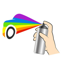 Spray paint in his hand car painting vector