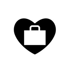 suitcase in heart icon valentines day sign vector image