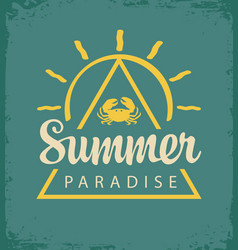 summer tropical banner with sun and crab vector image