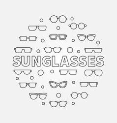 Sunglasses round - line symbol vector