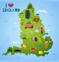 Travel map for england vector