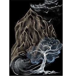tree and mountain vector image