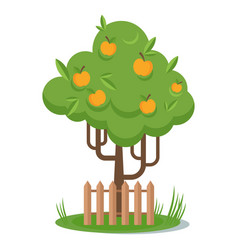 Tree with yellow apple picking flat vector