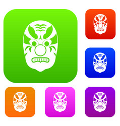tribal mask set collection vector image